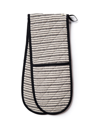 Scallop Stripe Double Oven Glove Black
