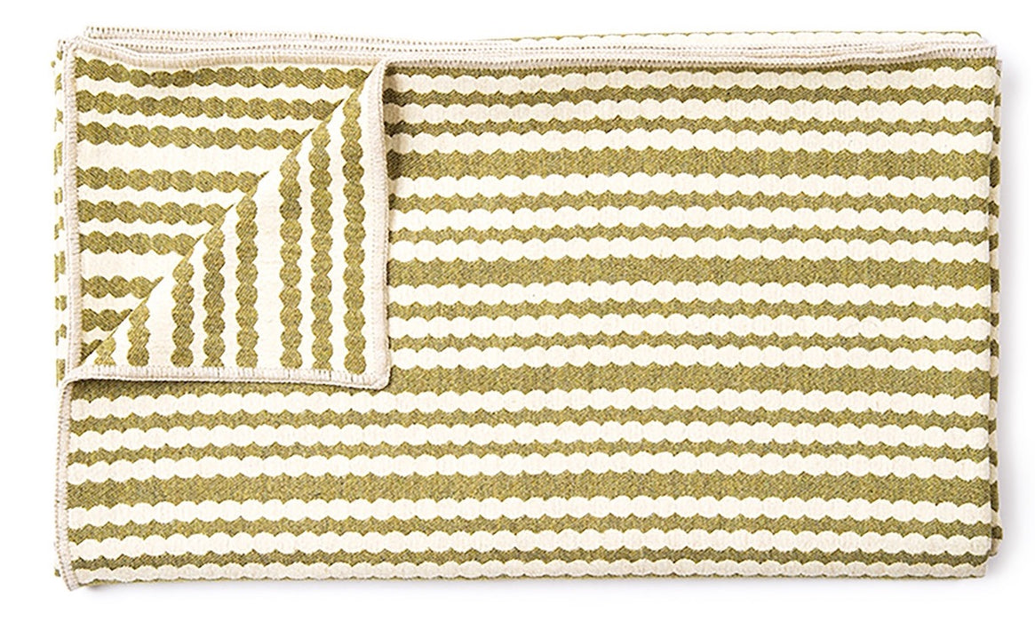 Scallop Stripe Throw Sage
