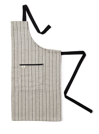 Scallop Stripe Apron Black