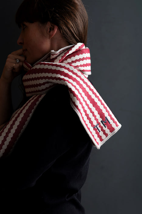Harbour Stripe Brushed Cotton Scarf Fawn and Ecru