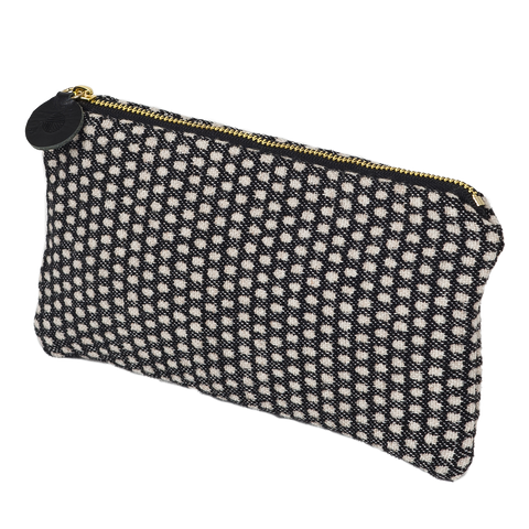 Merino Lambswool Zip Purse - Classic Clarendon Grey/Black- Tori Murphy