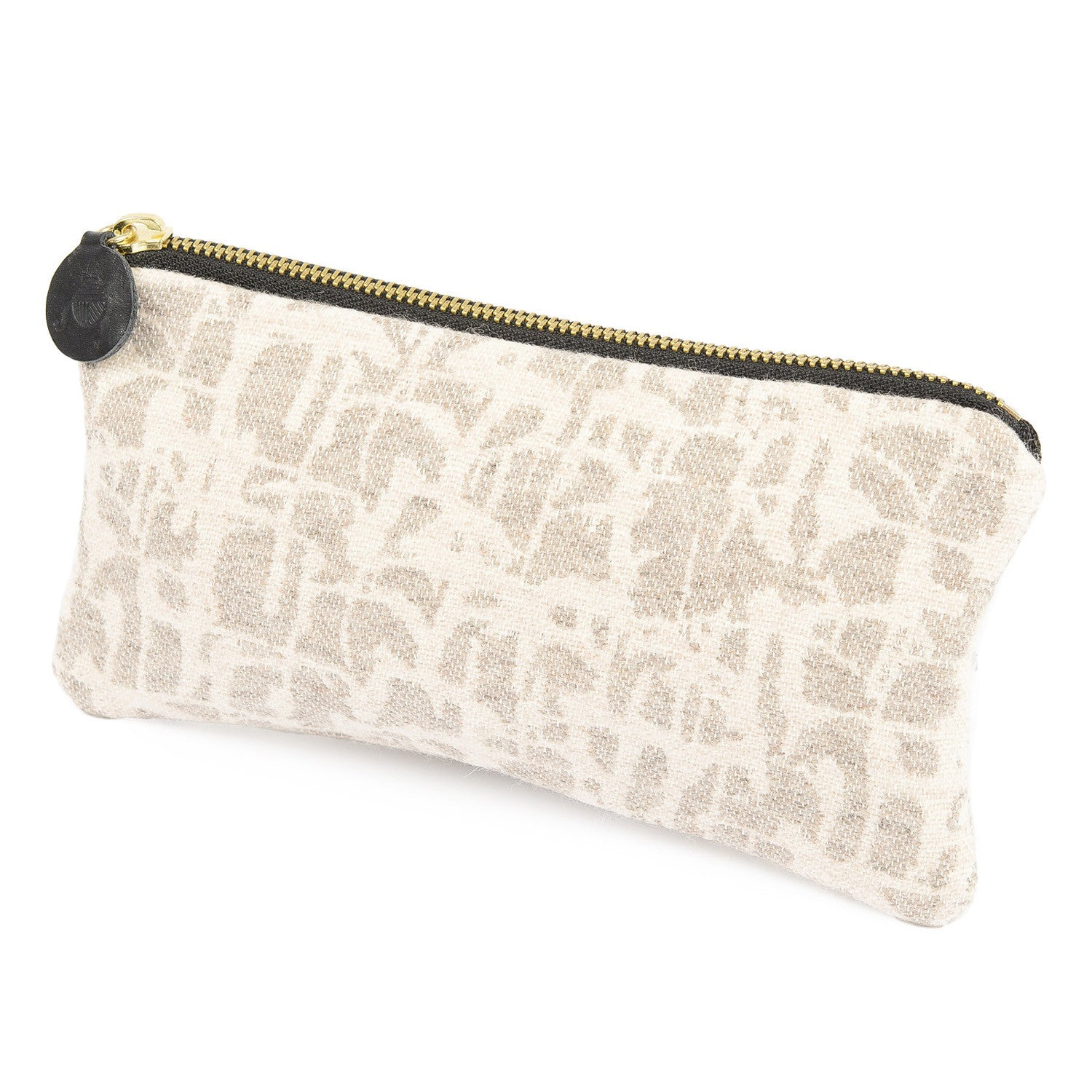 Merino Lambswool Zip Purse - Boulder Mushroom & Ecru - Tori Murphy Ltd