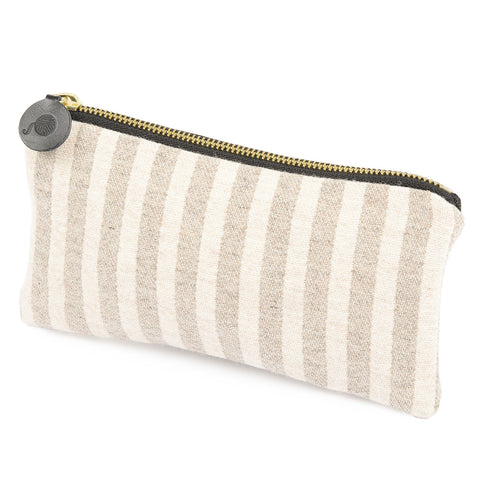 Merino Lambswool Zip Purse - Harbour Stripe Mushroom & Ecru - Tori Murphy Ltd