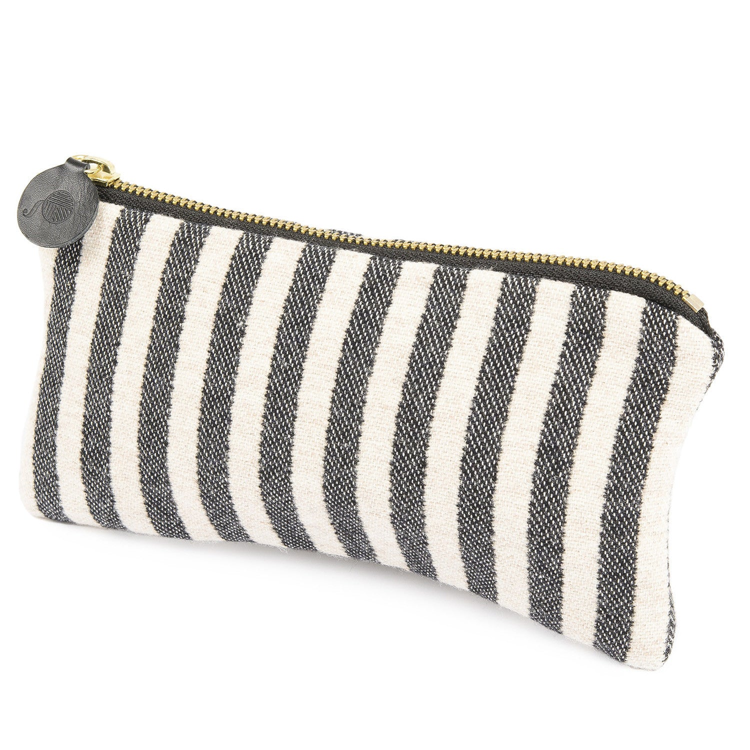 Merino Lambswool Zip Purse - Harbour Stripe Graphite & Ecru - Tori Murphy Ltd