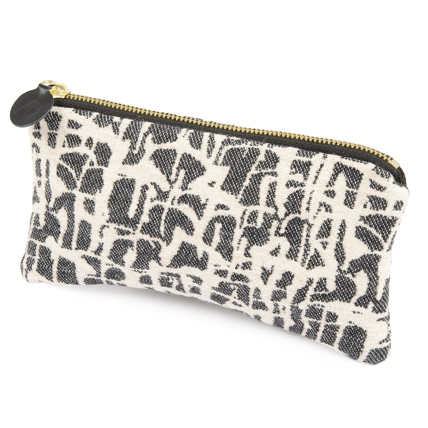 Merino Lambswool Zip Purse - Boulder Graphite & Ecru - Tori Murphy Ltd