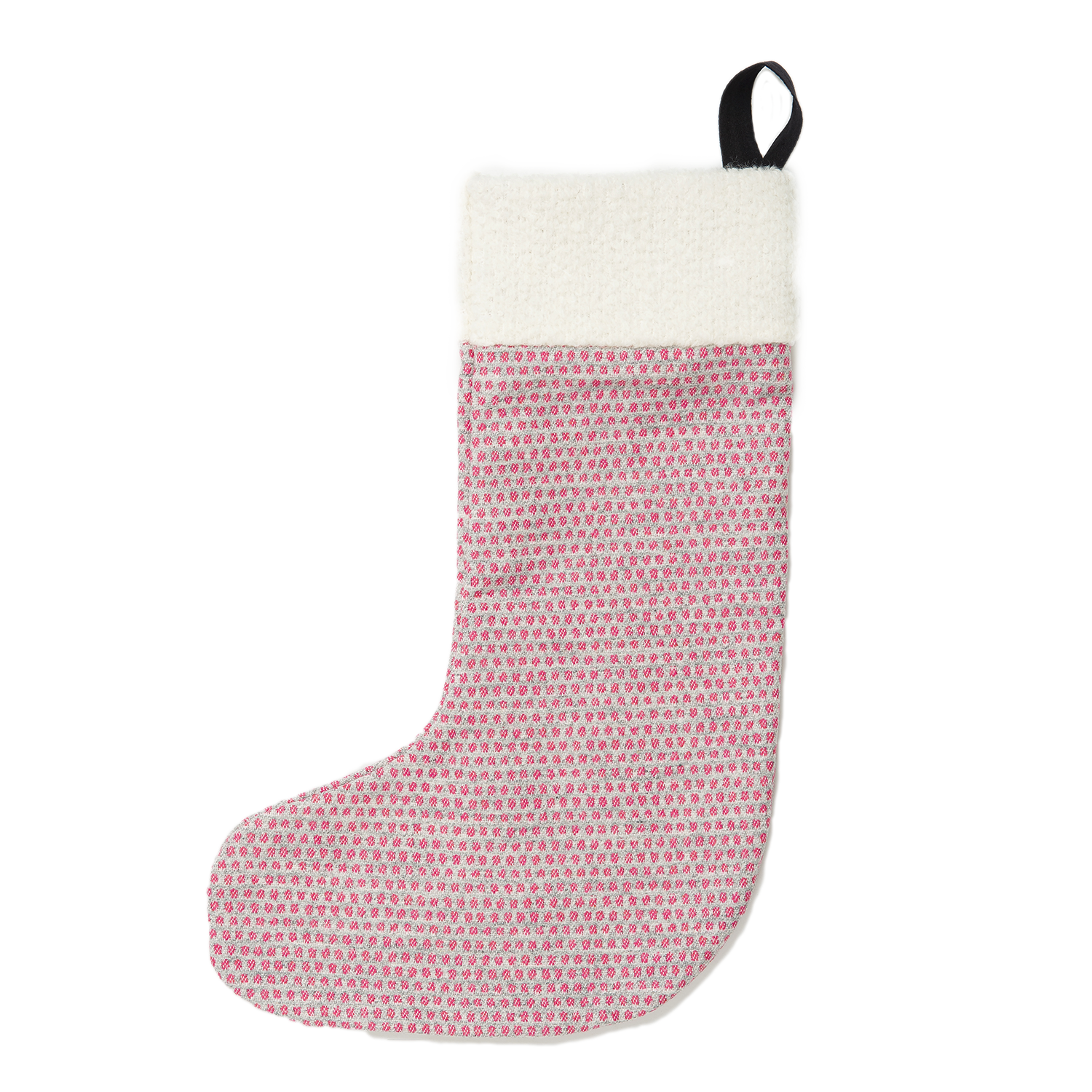 Lambswool Christmas Stocking | Pink/Grey Stocking | Tori Murphy Ltd