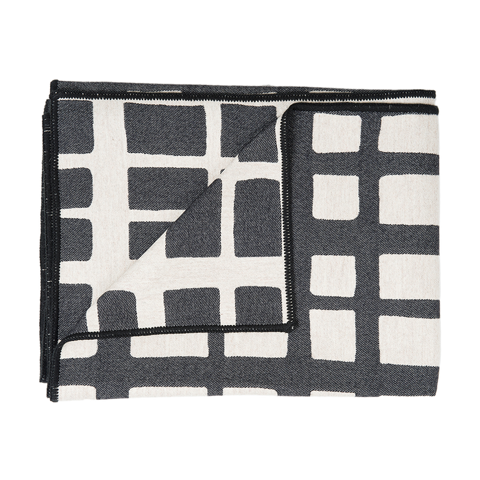 Merino Lambswool Throw – Made in England – Kensal Check Black and Linen Throw - Tori Murphy Ltd