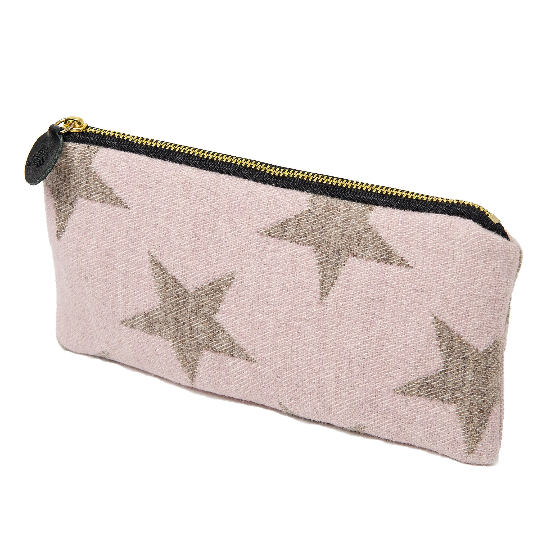Merino Lambswool Zip Purse Antares Star Mushroom on Pink - Tori Murphy
