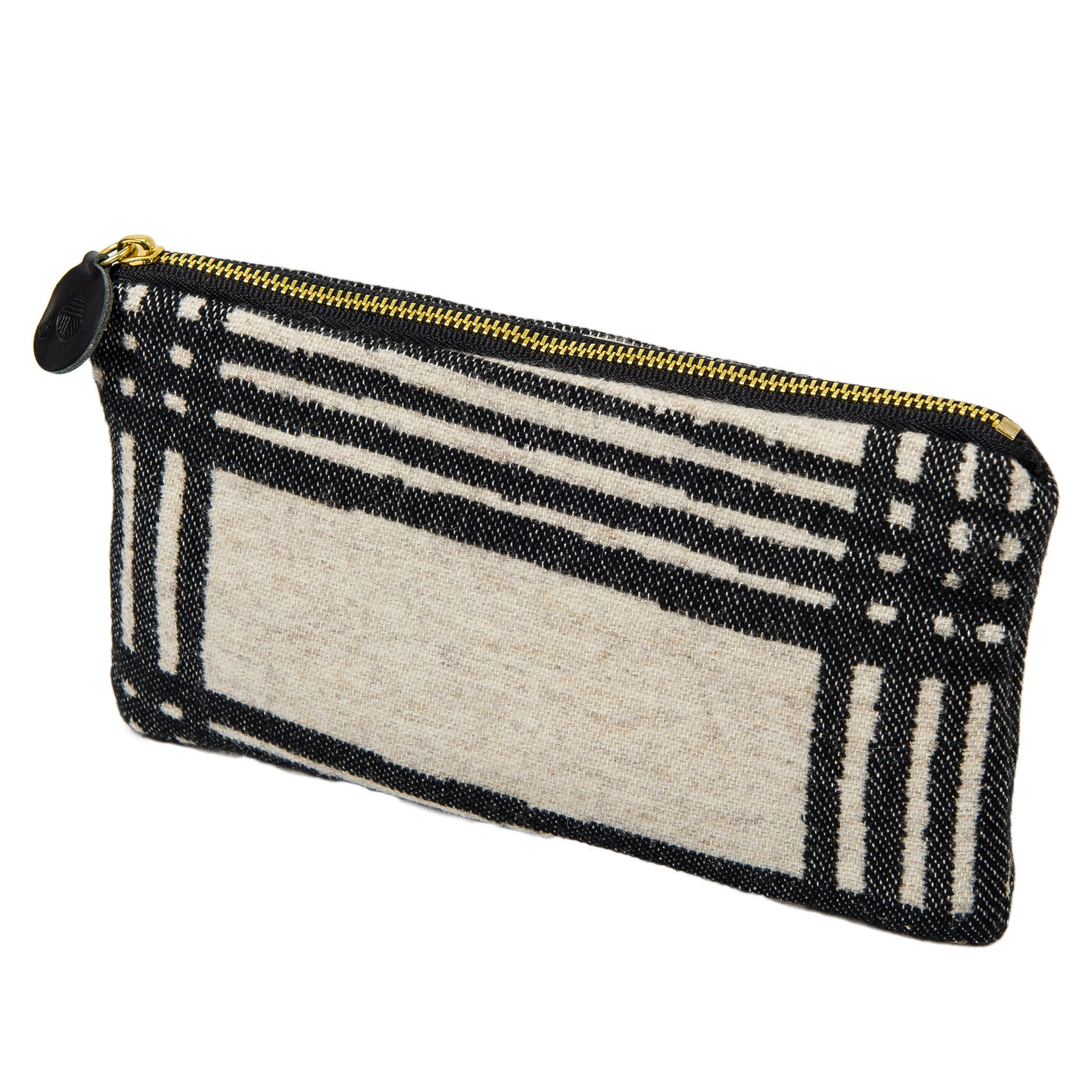 Merino Lambswool Zip Purse - Murphy Black on Linen - Tori Murphy