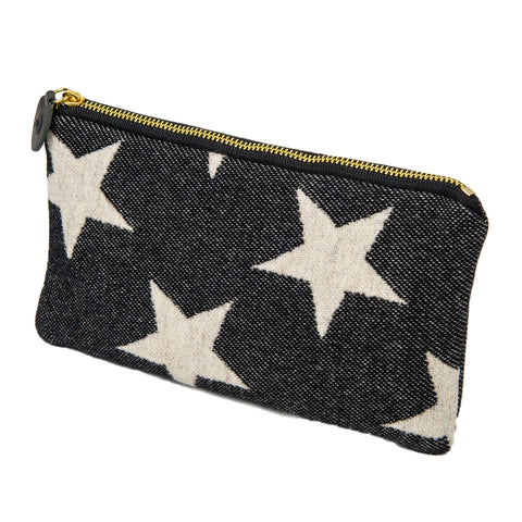 Merino Lambswool Zip Purse - Antares Star Linen on Black - Tori Murphy