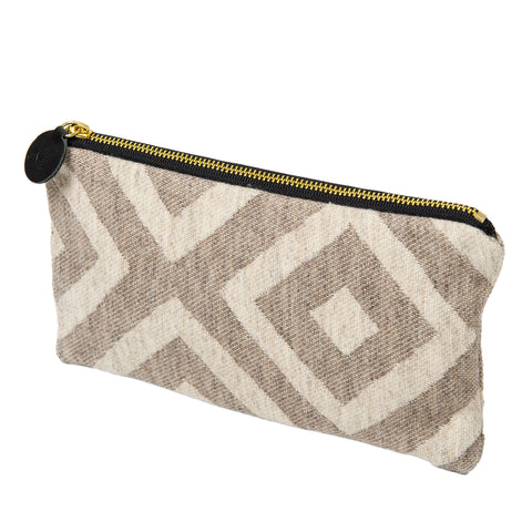 Merino Lambswool Zip Purse - Broadway Linen on Mushroom - Tori Murphy