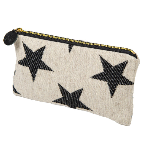 Merino Lambswool Zip Purse - Antares Star Black on Linen - Tori Murphy