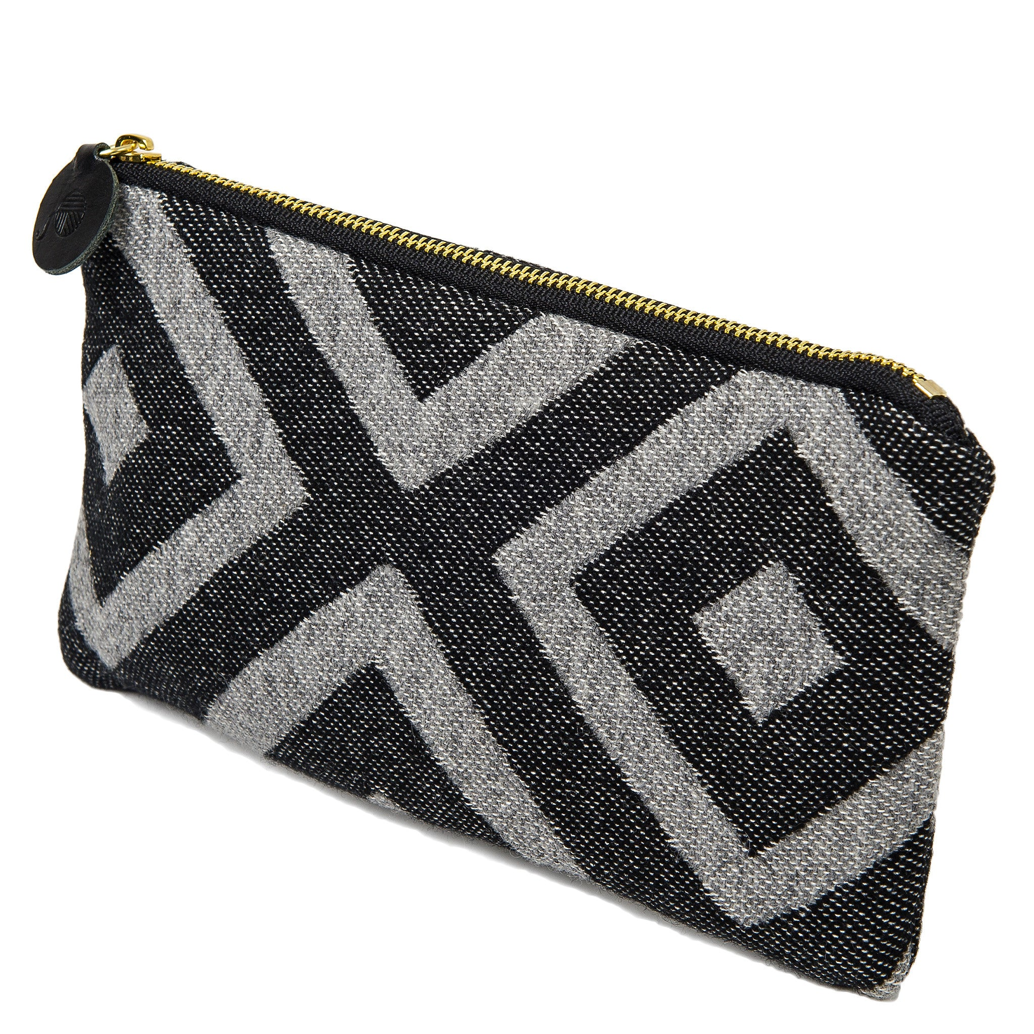 Merino Lambswool Zip Purse - Broadway Charcoal on Black - Tori Murphy