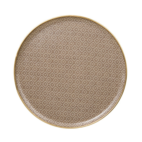 Broadway Round Tray - Linen on Fawn