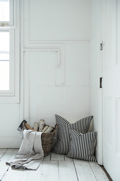 Harbour Stripe Cushion Graphite & Ecru