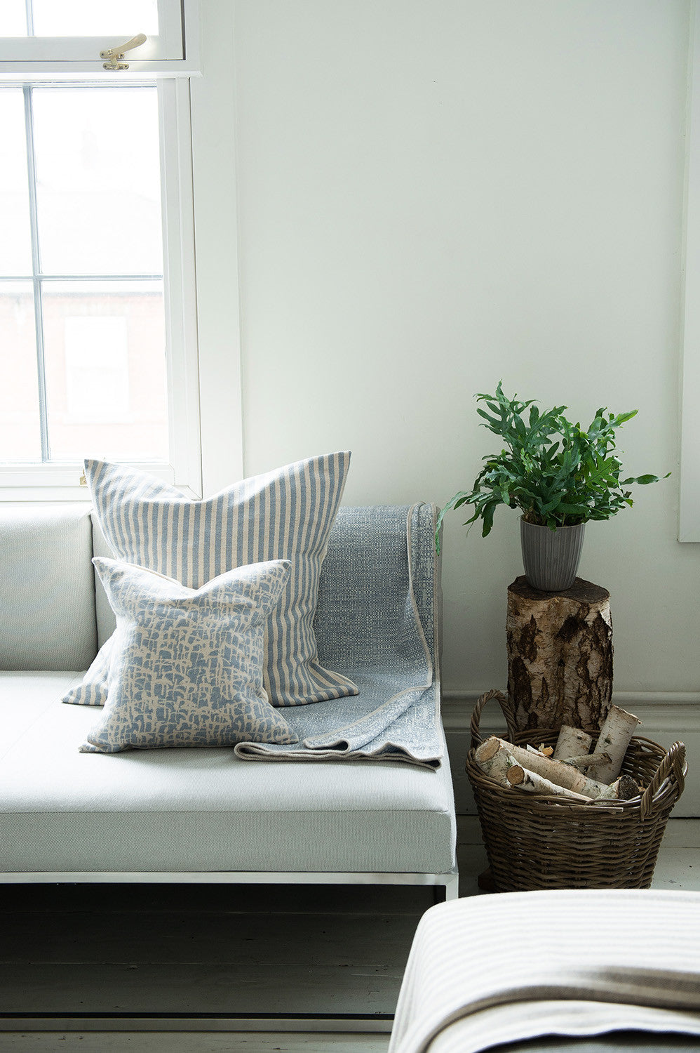 Harbour Stripe Cushion Smoke & Ecru