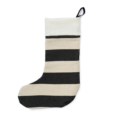 Fastnet Stripe Christmas Stocking Black