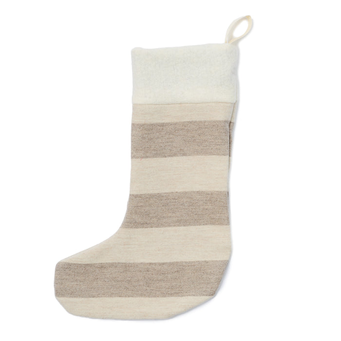 Fastnet Stripe Christmas Stocking Mushroom