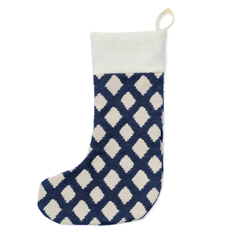 Cadogan Check Christmas Stocking Navy