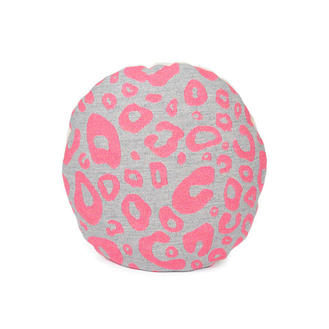 Merino Lambswool Round Cushion - Hamilton Spot Hot Pink on Grey Cushion - Tori Murphy Ltd