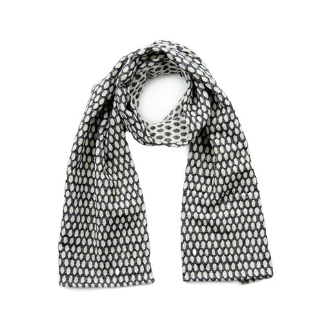 Elca Brushed Cotton Scarf Black and Ecru | Tori Murphy