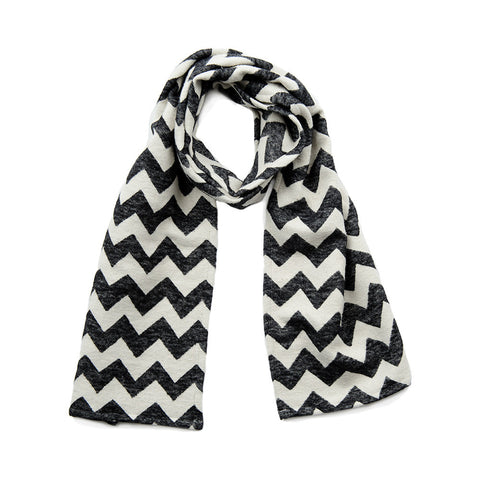 Chevy Brushed Cotton Scarf Black and Ecru | Tori Murphy