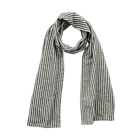 Harbour Stripe Brushed Cotton Scarf Black and Ecru | Tori Murphy