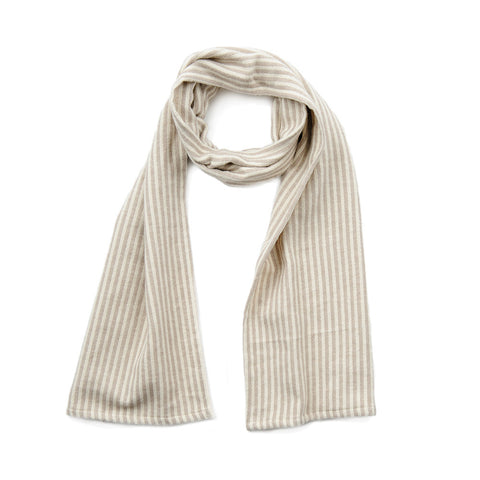 Harbour Stripe Brushed Cotton Scarf Fawn and Ecru | Tori Murphy