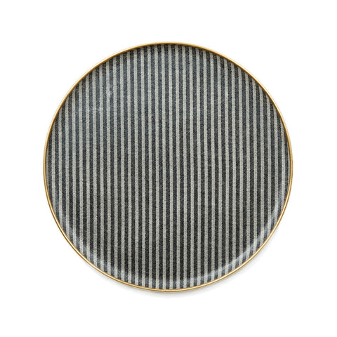 Round Serving Tray-Black and Linen | Tori Murphy