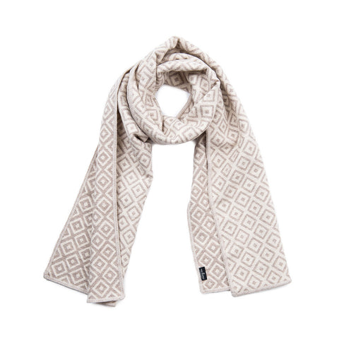 Broadway Reversible Merino Wool Scarf Linen & Mushroom | Tori Murphy