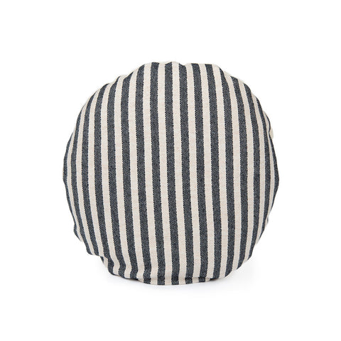Merino Lambswool Round Cushion - Harbour Stripe Black and Linen Cushion - Tori Murphy Ltd
