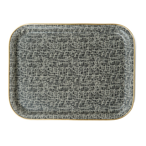 Boulder Rectangle Tray - Black and Ecru