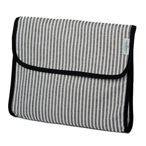 Cotton Wash Bag in Harbour Stripe Graphite & Ecru by Tori Murphy