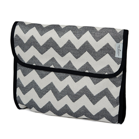 Cotton Wash Bag in Chevy Graphite and Ecru by Tori Murphy