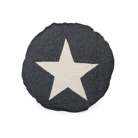 Merino Lambswool Round Cushion - Large Antares Star Linen on Black - Tori Murphy Ltd