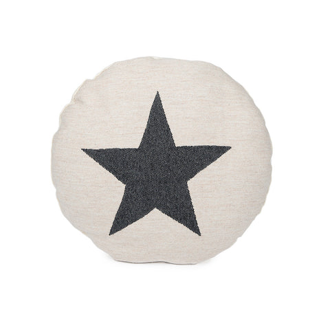 Merino Lambswool Round Cushion - Large Antares Star Black on Linen - Tori Murphy Ltd