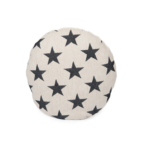 Merino Lambswool Round Cushion - Antares Star Black on Linen - Tori Murphy Ltd