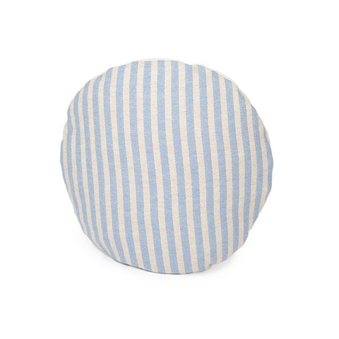 Merino Lambswool Round Cushion - Harbour Stripe Smoke and Linen Cushion - Tori Murphy Ltd