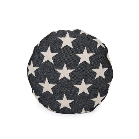Merino Lambswool Round Cushion - Antares Star Linen on Black - Tori Murphy Ltd