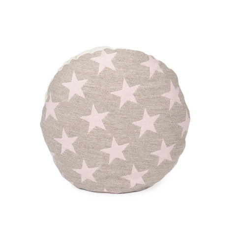 Merino Lambswool Round Cushion - Antares Star Pink on Mushroom - Tori Murphy Ltd