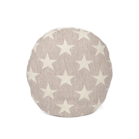 Merino Lambswool Round Cushion - Antares Star Linen on Mushroom - Tori Murphy Ltd