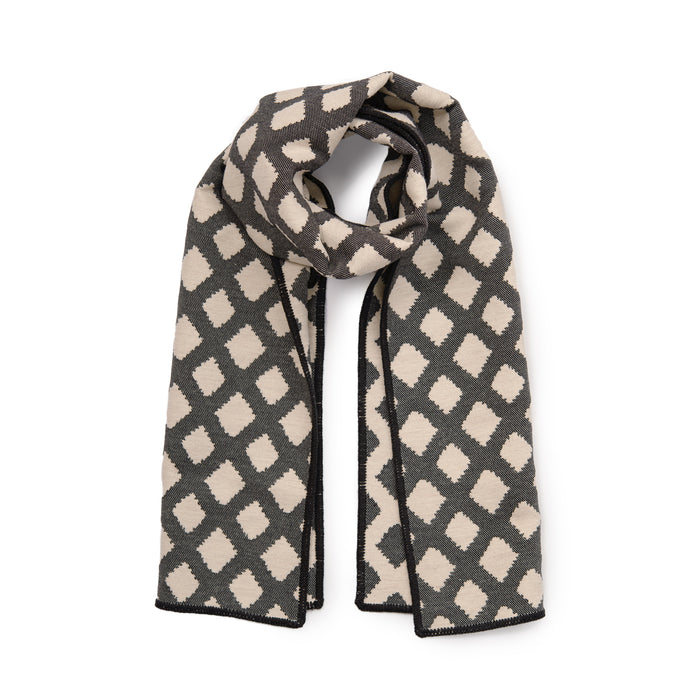 Cadogan Check Reversible Merino Wool Scarf Black