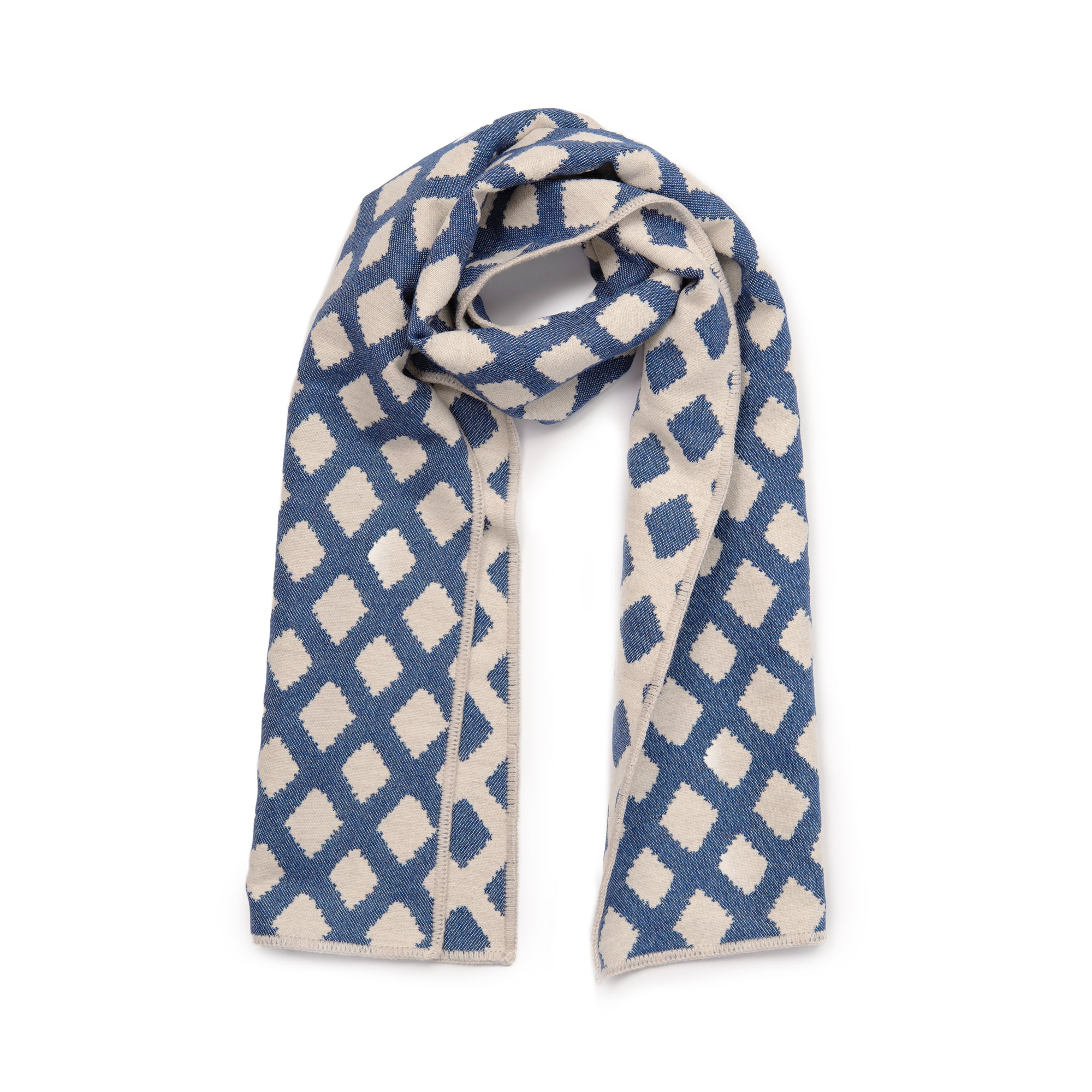 Cadogan Check Reversible Merino Wool Scarf Navy