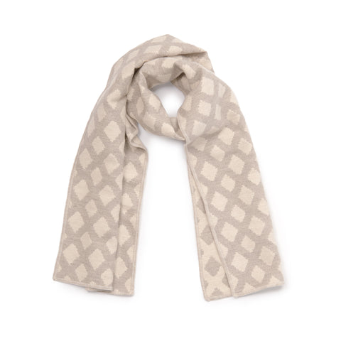 Cadogan Check Reversible Merino Wool Scarf Mushroom