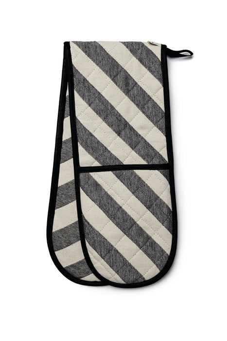 Totto Stripe Double Oven Glove Black