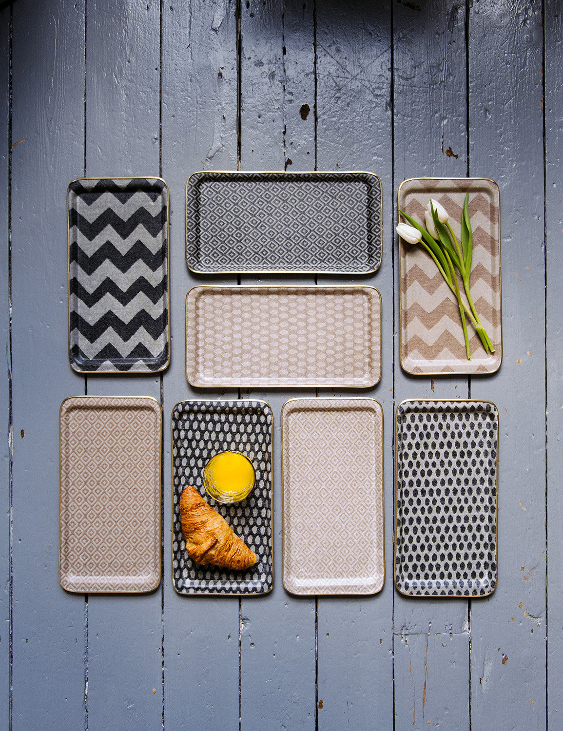 Harbour Stripe Rectangle Tray - Fawn and Linen