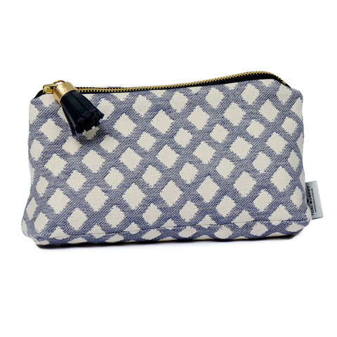 Cadogan Check Small Wash Bag Navy