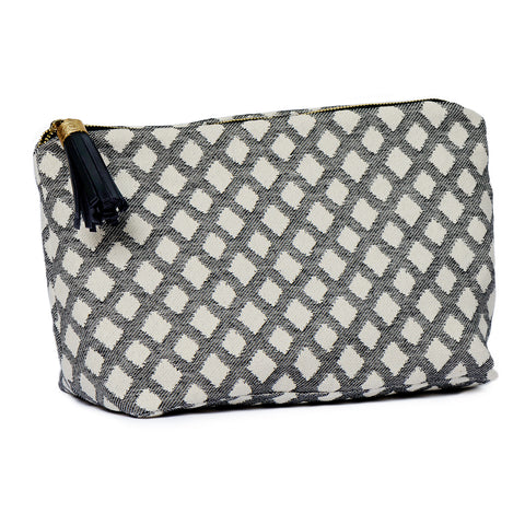 Cadogan Check Large Wash Bag Black