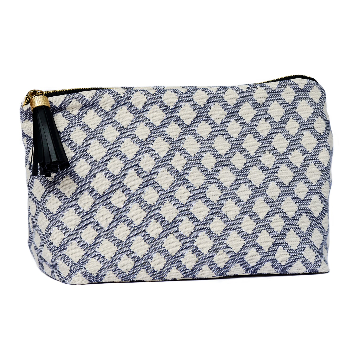 Cadogan Check Large Wash Bag Navy