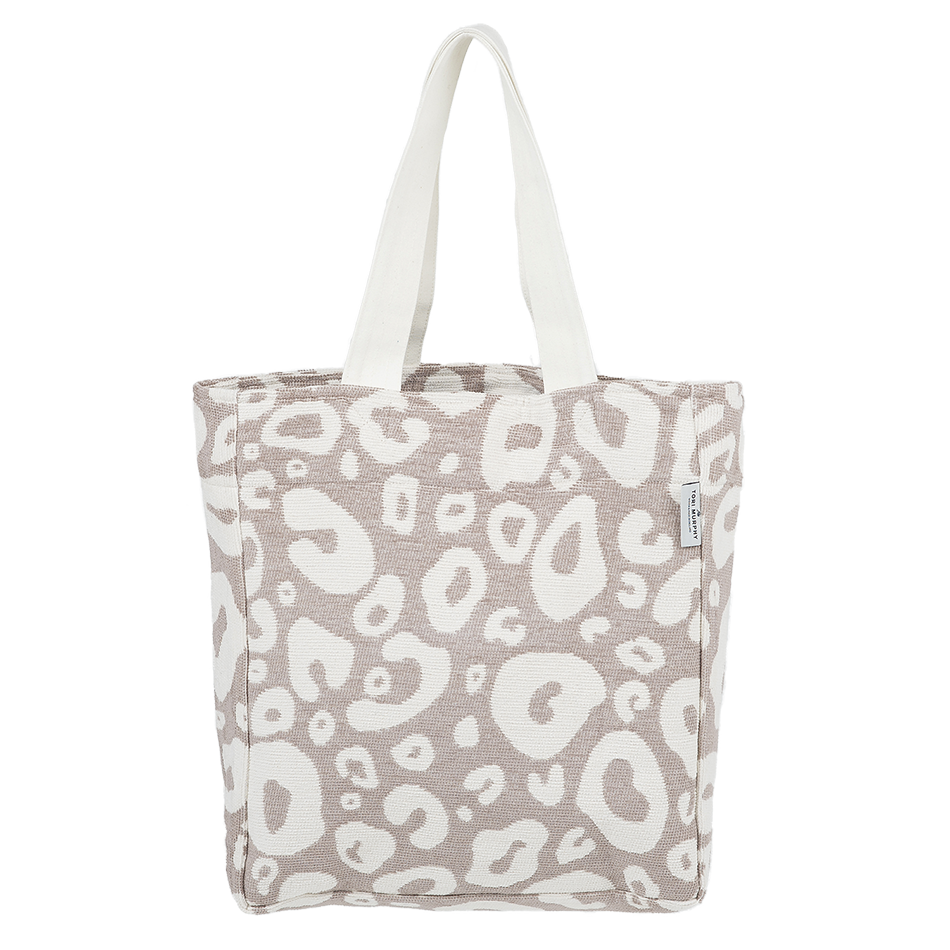 Cotton Chenille Shopping Tote Bag-Large Hamilton Spot Fawn and Linen Shopping Tote-Tori Murphy Ltd